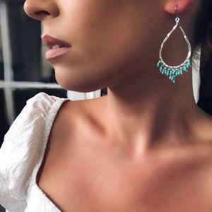 Venice Silver & Turquoise Bead Hoop Earring